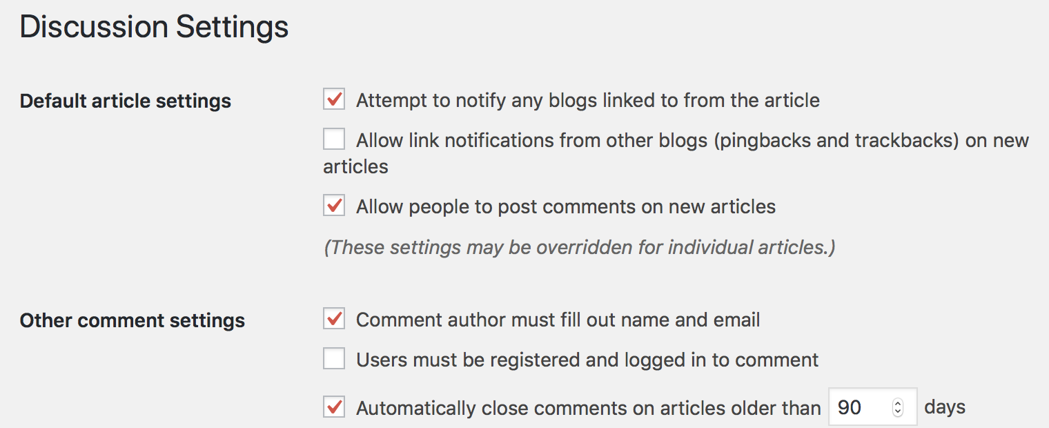 Discussion Settings – Default article settings